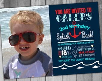 Pool Party Invitation Boy Birthday Summer Birthday Beach Birthday Printable Birthday Photo Birthday Nautical Birthday 2nd Birthday