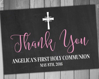 First Holy Communion Thank You Card Printable Thank You Card Printable Communion 1st Holy Communion Chalkboard Thank You Printed Cards