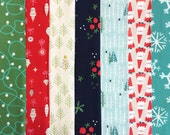 Holiday Christmas Fabric Fat Quarter Bundle - Garland and Tinsel by Cotton and Steel