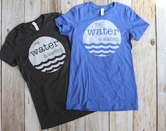 Women Water is Waiting Long and Lean T-shirt, Grey Shirt, Blue Shirt, Womens clothing, Womens apparel