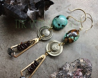 10% OFF SUBLIMATION <WATER> Turquoise, Garnet, and Herkimer Quartz Earrings Witchy Alchemy Collection