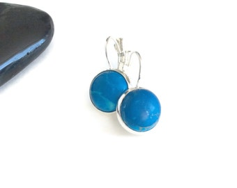 Turquoise Stone Earrings,Sterling Silver Leverback Earrings, Dyed Howlite Turquoise Earrings, Round Natural Stone, 12mm Cabochons