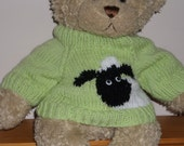 Teddy Bear Sweater Jumper - Hand knitted -  Lime Green with Sheep motif - fits Build a Bear