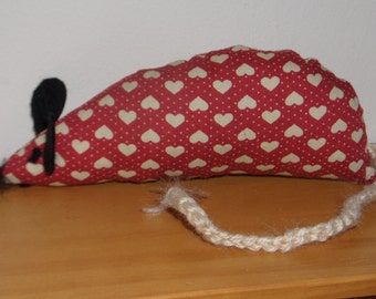 Valentine Catnip Mouse - Dark Red with Hearts - Handmade Cat Toy with extra strong catnip