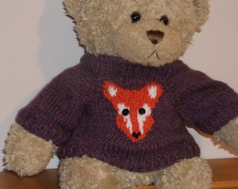 Teddy Bear Sweater Jumper - Hand knitted -  Purple with Fox motif - fits Build a Bear