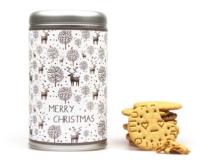 MERRY CHRISTMAS Gift Tin Cookie Jar