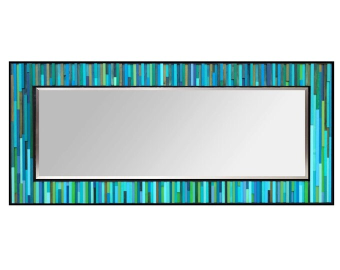 """Modern Wood Leaner Floor Mirror 32x78"""" - Water Lily Reflection - Wood Mirror in Blues and Greens - Reclaimed Wood Art -Abstract Wood Art"""