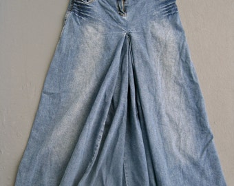 Jeans Maxi Skirt Denim Long A LINE Distressed Vintage 90s SIZE 4 Low Rise Cotton Spandex Stretch Pleated Front Hippie Festival 70s Style