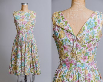 50s Garden Dress Pastel Floral with Rhinestone Cotton Day Dress Party Dress