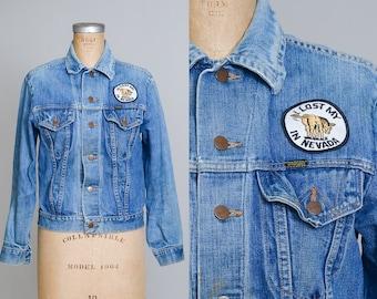 70s Wrangler Jean Jacket Indigo Blue Distressed Denim I lost My Ass in Nevada Two Pocket Jean Jacket