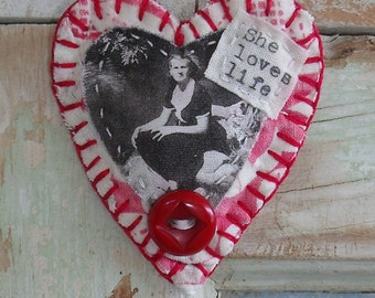Handmade Heart brooch/pin, ornament, Inspirational, vintage quilt scrap, vintage button, she loves life