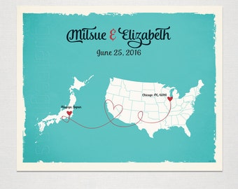 Japan - USA Custom Wedding Print Destination Wedding Gift Memento Marriage Couple print Signature Guest Books Map Wedding Signature Map