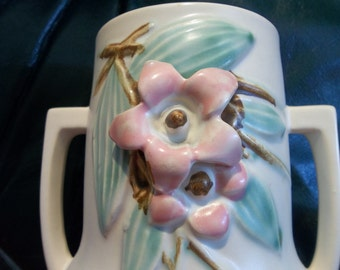 """MID CENTURY Pottery Vase... Signed Mc Coy...Good Condition...6.5"""" Tall...Dogwood Flower"""