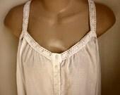 Victoria's Secret nightgown white cotton long length sexy lingerie  L XL