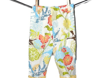 Toddler Bloomers in yellow with multi colored floral and bird print  - size 18-24 mos