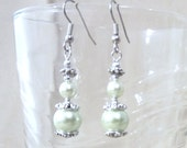 Soft Green Pearl & Silver Double Dangle Earrings, Handmade Original Fashion Jewelry, Sophisticated Classic Luxury Custom Wedding Bridesmaids