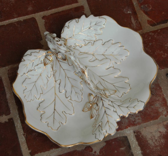 "Vintage 1899-1934 C. TIELSCH & C0 Elegant Dble Sided Dish White w/Gold Gild Decor Very Large 13""x11"" Altwasser Silesia Germany Exc Cond"