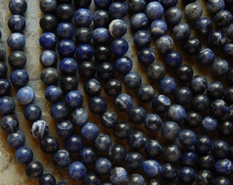 10mm Sodalite Natural Round Polished Gemstone Beads, Half Strand (N2-IND1C375)