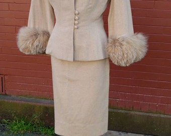 1950s Rare Lilli Ann 2pc Fur and Wool Suit