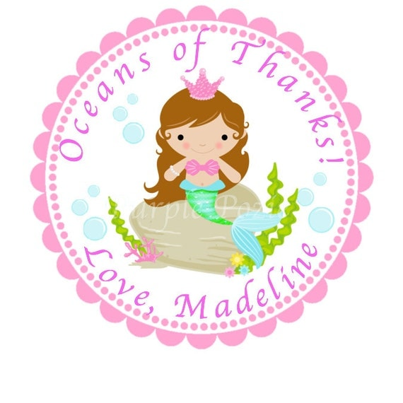 Light Brown Hair Mermaid Labels
