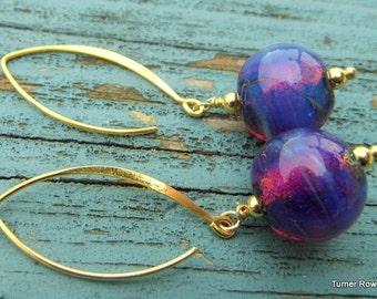 Glass & Vermeil Bud  Earrings.  Lampwork Earrings  SRAJD FHFteam