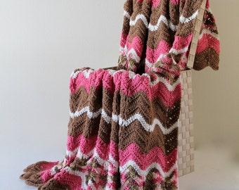 Afghan - Ripple Crochet Blanket - Pink Camo and Brown Throw
