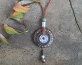 Industrial Recycled Antique Peanut Butter Grinding Wheel Statement Necklace