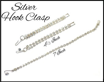 Silver Rhinestone Extender, Hook Clasp, Several Lengths, Single & Double Strand, Necklace Extender, Choker Extender, Stage Performance