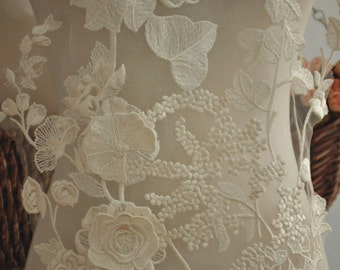 3D Venice Lace Applique in Graceful Ivory for Jewelry Design, Bridal Gown, Wedding Dress