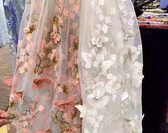 3D Flower Lace Fabric with Vivid Butterfly ,