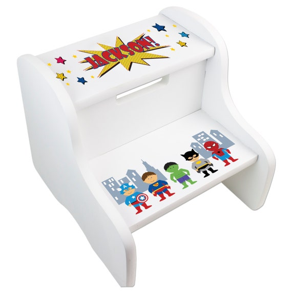 Kids Personalized Superhero Step Stool Great For Super Hero