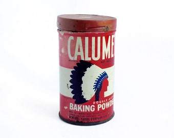 vintage CALUMET Baking Powder Tin, 1950s metal kitchen decor, retro kitchen, made in the USA, mid century kitchen decor, vintage tins