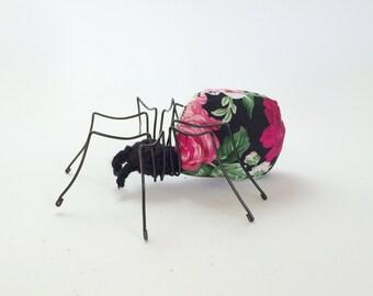 Fabric Spider, Halloween Black Spider, Art Spider, Floral Fabric Halloween Ornament