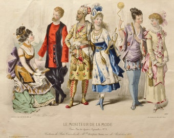 Antique French Fashion Print - Le Moniteur De La Mode - Colorful Costume Ball Vintage Artwork - Jules David - Steel Etchings and Engravings