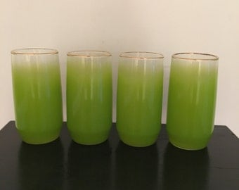 Vintage Blendo Lime Green with Gold Rim Drinking Glasses/ Set of 4/ Mid Century Glassware