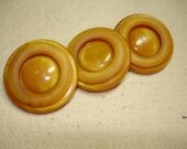 Golden Yellow Buttons - 3 Butterscotch buttons- 1 inch - beautiful circle pattern- NOS - coat buttons -3 buttons