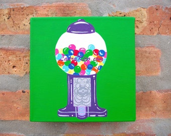 Gum ball Machine Gumball Original Painting Small Canvas Painting Bubble Gum Art Wall Decor Home Decor