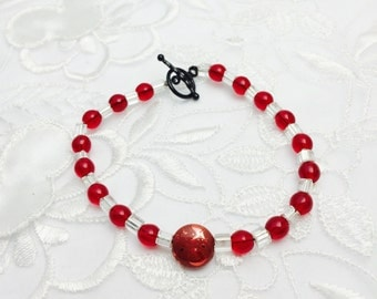 Beaded Bracelet, Red and Clear Beads, Black Clasp, Made in the USA, Clearance Sale, Item No. B116