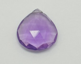 Light Purple Amethyst Heart Briolettes, Amethyst Briolette Faceted Flat Drops, 16x16 mm, 1 Bead, Destash Gemstones #183