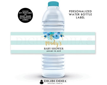 WATER BOTTLE LABELS Baby Shower Water Bottle Labels Bridal Shower Water Bottle Labels Birthday Labels Printable or Waterproof Labels - Mady