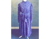 Gorgeous LAURA ASHLEY vintage cotton corduroy indigo maxi dress with floral print