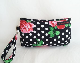 Rockabilly, Pinup, pinup inspired, Floral, Roses, Polka Dots, Purse, Bag, Wristlet, Handbag, Pouch, Clutch, Zipper Pouch