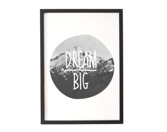 Dream Big Nursery Art, Monochrome Nursery, Nursery Wall Art, Nursery Wall Decor, Playroom Decor, Art Print, Home Decor, Dream Big, Playroom