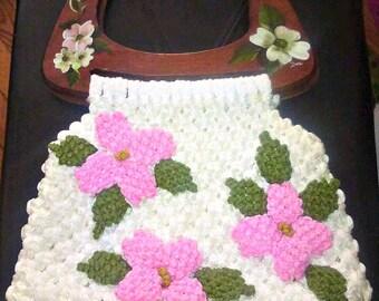 Vintage 1960s 1970s Large Macrame Bag Purse Flower Hippie Wood Handles  Handmade
