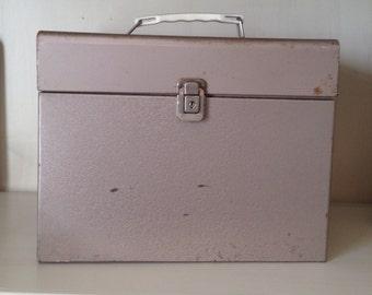 Vintage Metal File Box Office Storage with Handle
