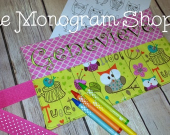 Crayon Case Roll-ups for Kids with back pocket for holding paper Owls print - FREE MONOGRAMMING