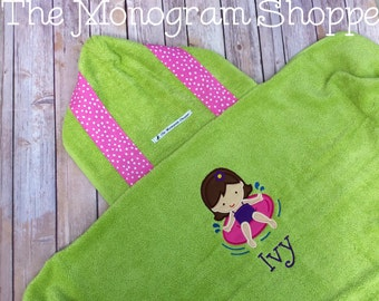 Pool Girl Hooded Bath Towel Wrap Beach Towel Wrap Toddler Baby Children Kids Personalized - FREE MONOGRAMMING