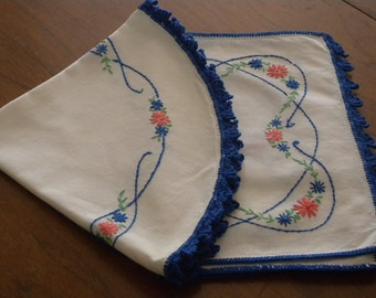 Pair of Two Vintage Hand Embroidered  ~ Linen Runners with Lots of Flowers// Home Decor//Vintage Table Scarf