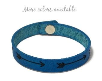 Engraved Bracelet, Leather Bracelet, Arrow Bracelet, Custom Leather Bracelet, Laser Engraved Bracelet, Follow Your Arrow, Gifts Under 15