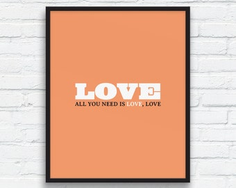 All you need is Love, Love Art Print , Love Wall Decor, Peach Rose, couples gift, Love printable, Gift art print, Printable Art